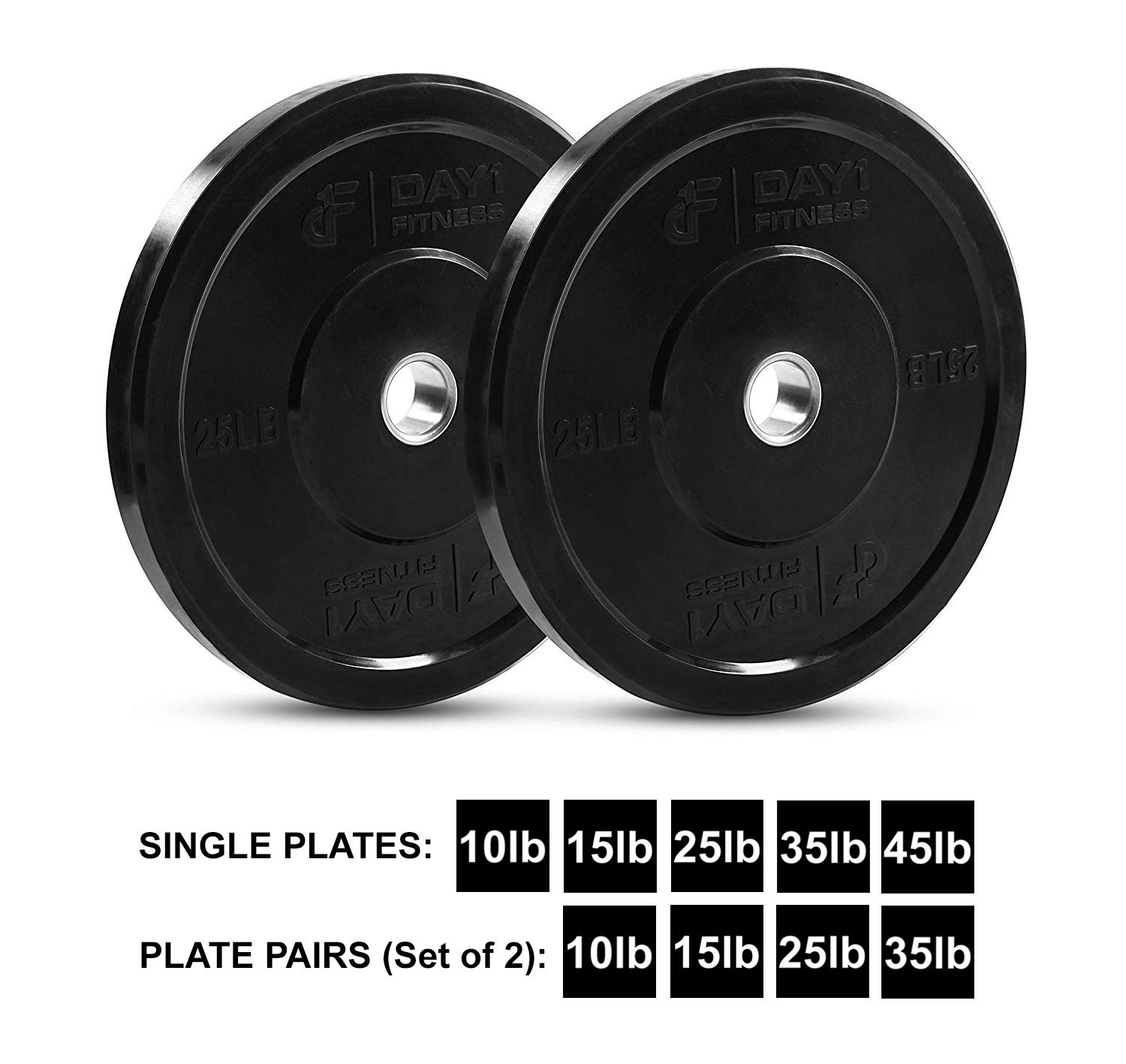 """Bars 5 Weights Available 10 to 45lbs Strength Training Olympic Bumper Plate 2/"""" Shock-Absorbing - by D1F- Weighted Plates for Barbells Singles or Pairs and Working Out Day 1 Fitness D1BP15PR Minimal Bounce Weights for Lifting"""