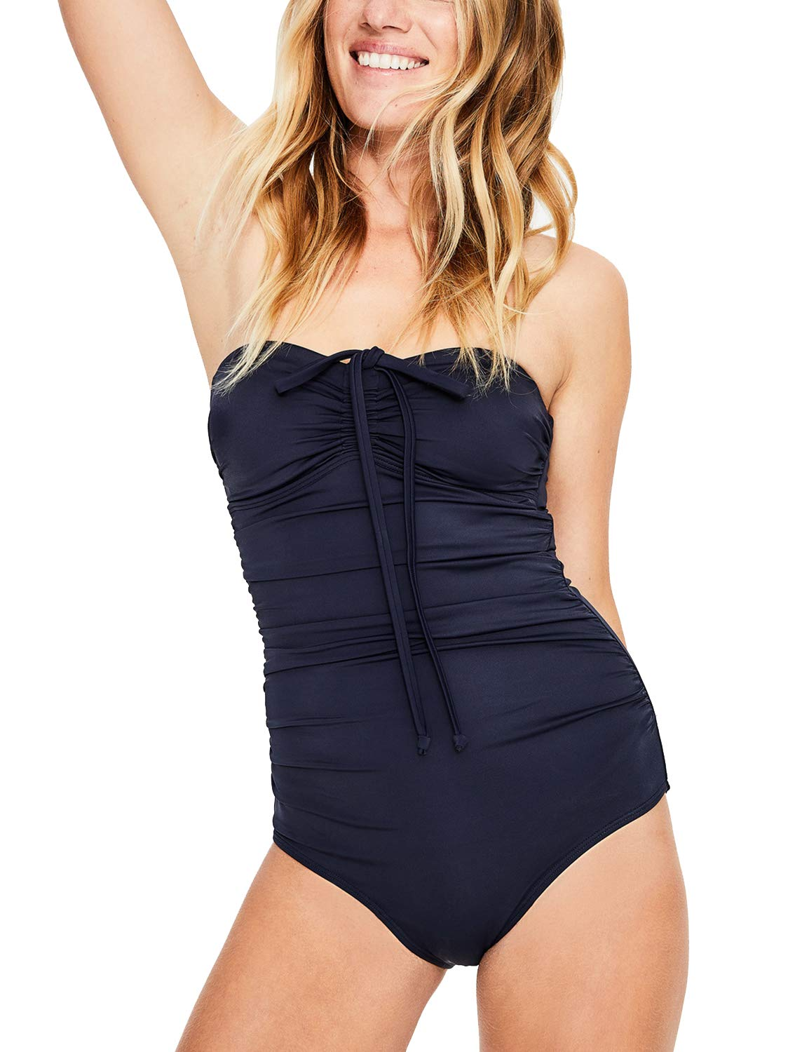 MAY Womens Bandeau One Piece Swimsuit Runched Tummy Control Bathing Suit Black
