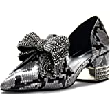 9036856b81b Jeffrey Campbell Valenti Python Snake Print Leather Black and Grey  Rhinstone Embellished Loafer
