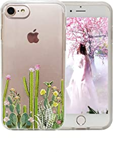 4.7 inch iPhone 7 Case, iPhone 8 Case, iPhone 7 Case for Women,Flowers Clear Design Plastic Back Case with TPU Protective Case Cover for iPhone 7(2016)/ iPhone 8 (2017)