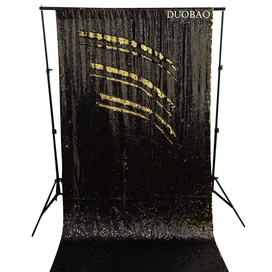 DUOBAO Sequin Backdrop 8Ft Black to Gold Mermaid Sequin Backdrop Fabric 6FTx8FT Two Tone Sequin Curtains