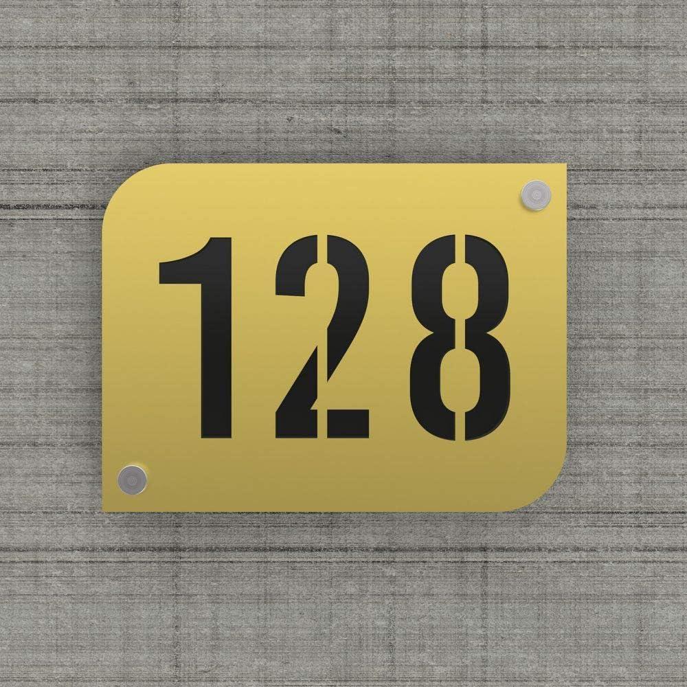 Argent brillant Mod/èle URBAN Plaque num/éro de rue//maison couleur or design avec fond personnalisable