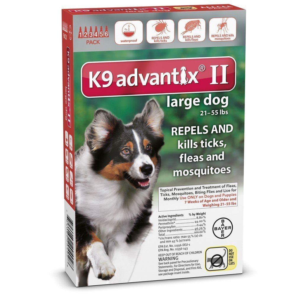 K9 Advantix II Flea Control for Dogs 21-55 Pounds (6 Applications) by Bayer Animal Health