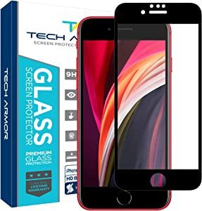 Tech Armor Edge to Edge Glass Screen Protector for Apple iPhone SE 2020 / iPhone 8 / iPhone 7 - Case-Friendly Tempered Glass, 3D Touch Accurate (Black) [1-Pack]