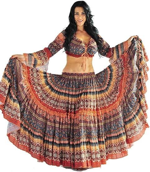 "3 Colour 25 Yard Cotton Tribal Skirt  ATS Belly Dance Dancing 36//37/"""