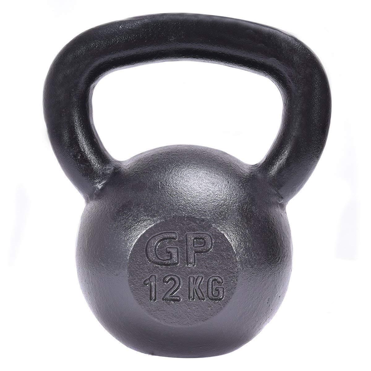Yoga 12 kg Colore in Nero Opaco Allenamento per Donna e Uomo Ideale per Sport Ginnastica Fitness Costway Kettlebell per Allenamento in Ghisa