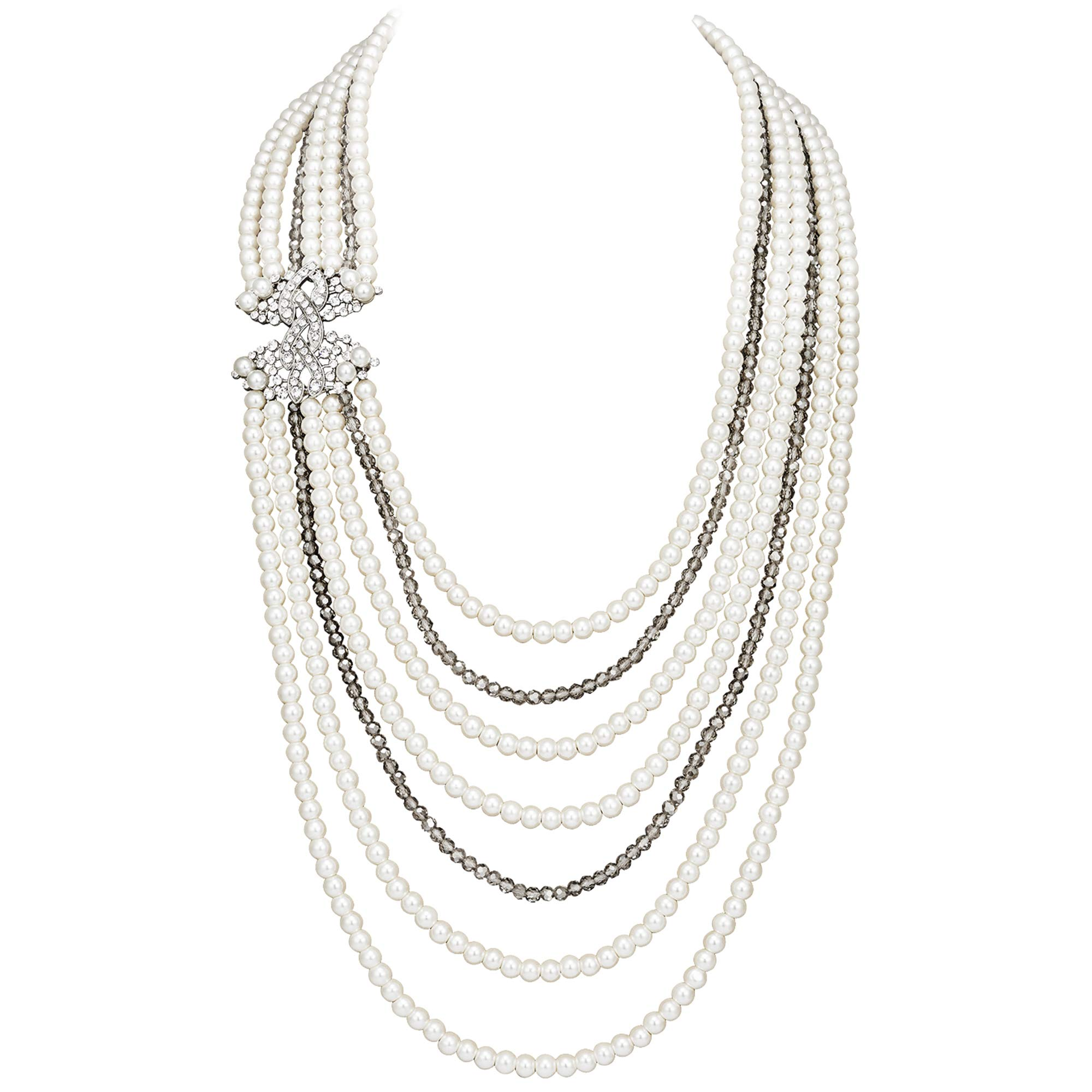 Coucoland Audrey Hepburn Inspired Pearl Necklace Earrings Set 1920s Gatsby Imitation Pearls Necklace with Crystal Brooch Bridal Pearl Jewelry Sets (White) by Coucoland