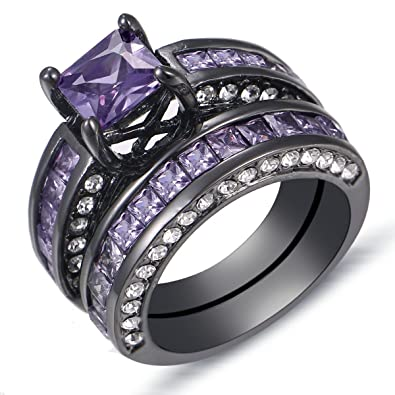 purple diamond princess cut 18k black gold plated engagement ring set - Black Gold Wedding Ring Sets