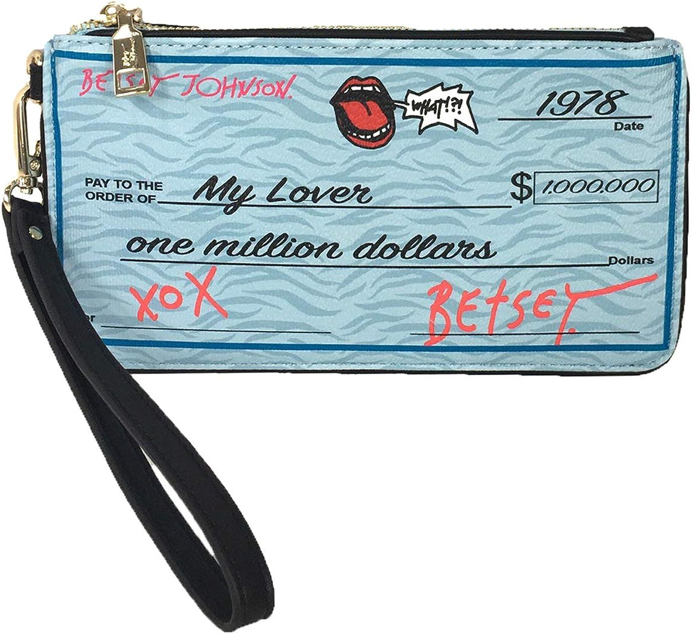Betsey Johnson Write Me A Check Wristlet, Blue