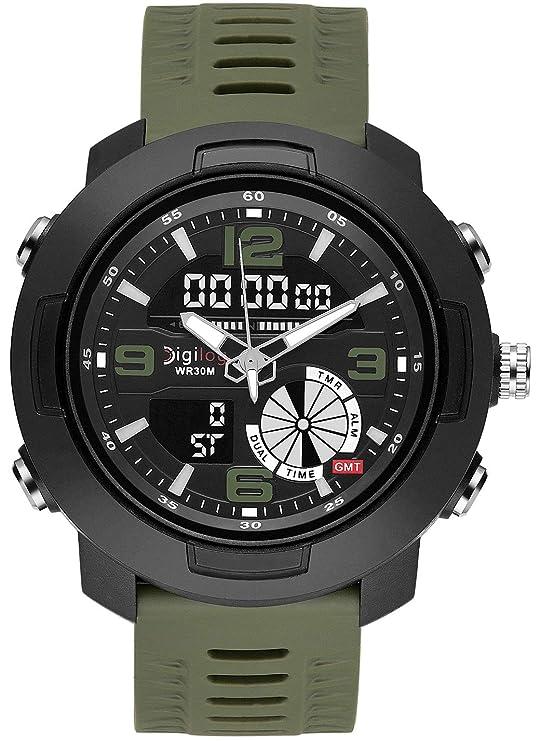 Digilog Wing Commander's Military Green Analog-Digital Dual Display Multi Function Watch for Men & Boys
