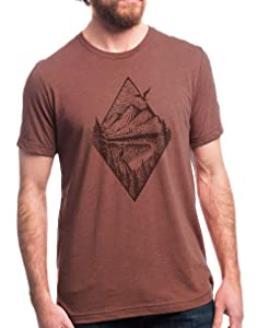 Mens Nature TShirt Camping T Shirt - River Mountain Forest - Black Lantern Graphic Tee Men's/Unisex | Heather Clay