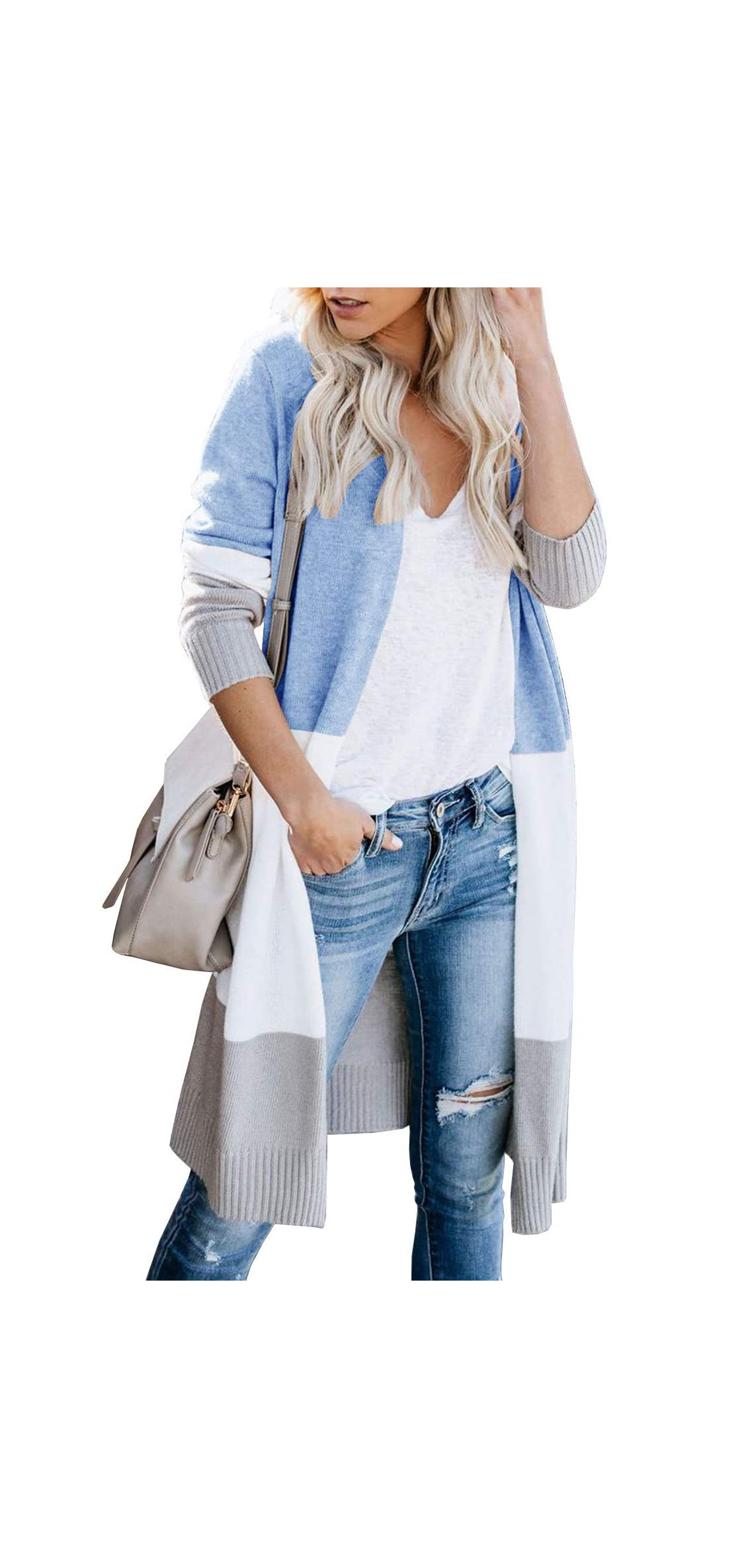 Womens Cardigan Long Sweater Tops Open Front Knit Coat Striped