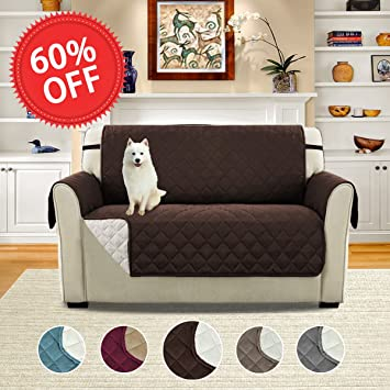 Nice Quilted Quick Drape Reversible Furniture Cover / Prevent Stains For 2 Seats  Sofa With Straps,