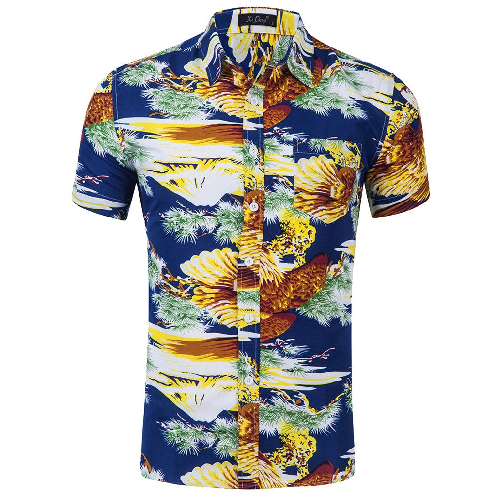 NUWFOR Men's Fashion Printed Blouse Casual Short Sleeve Slim Shirts Tops(Blue,US:XL Chest48)