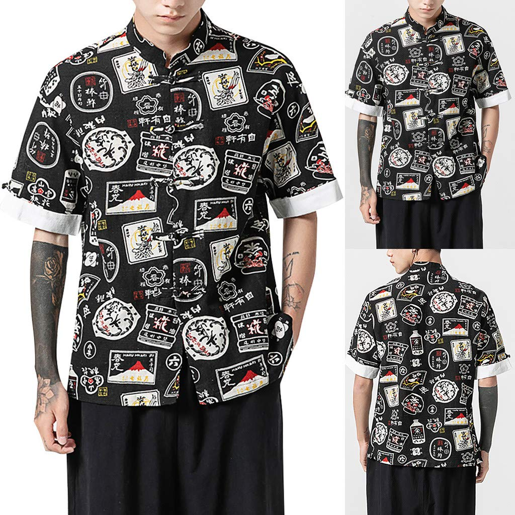 YAYUMI Chinese Style Mens Print Short Sleeve Multicolor Stand Neck Loose Casual T Shirt Blouse Tops
