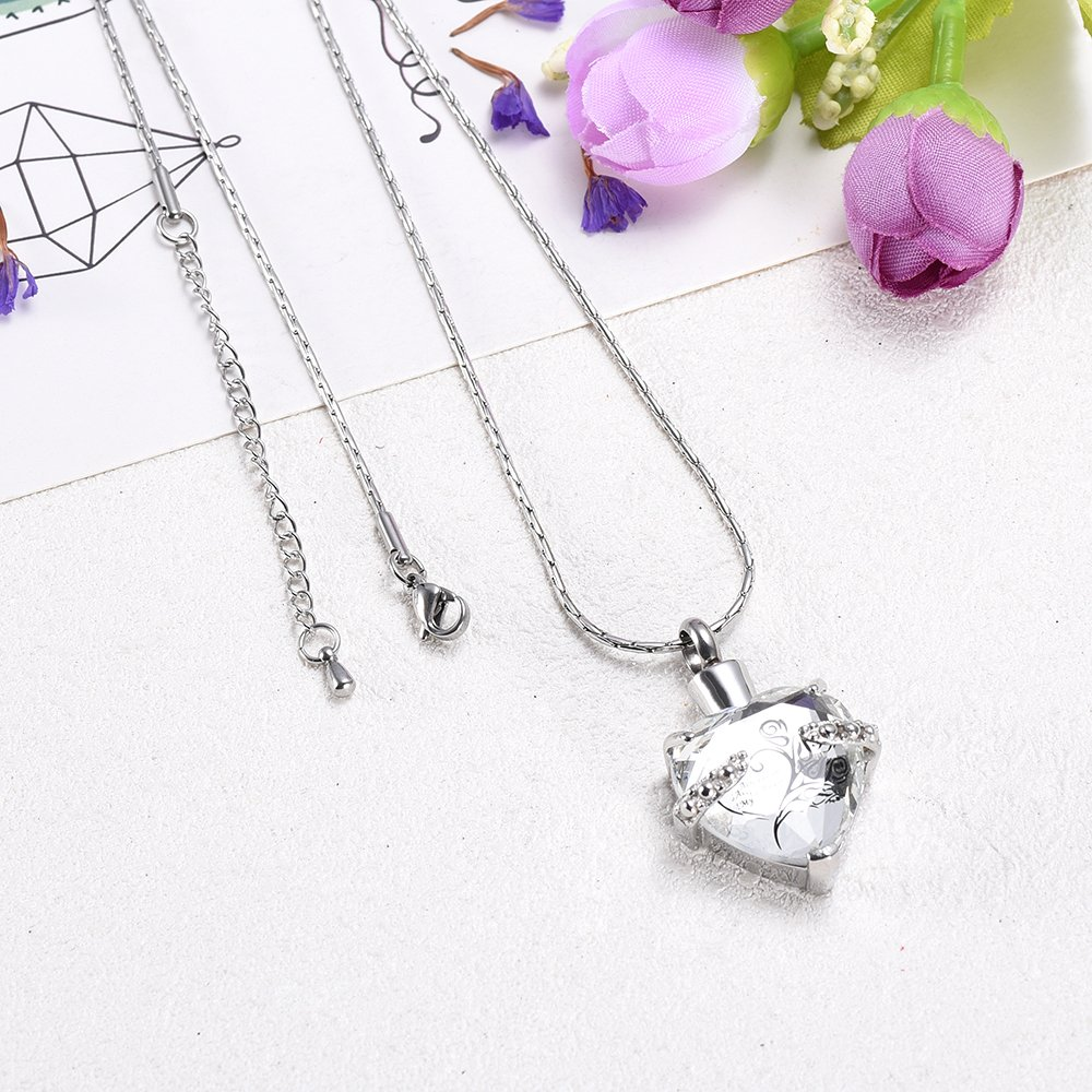 Always In My heart Crystal Necklace Stainless Steel Cremation Ashes Pendant Memorial Cremation Jewelry by constanlife (Image #5)