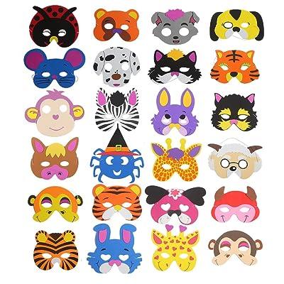 16 máscaras de espuma para niños de Ccinee, diseños variados de animales, para bolsas de regalo, 24 unidades: Juguetes y juegos
