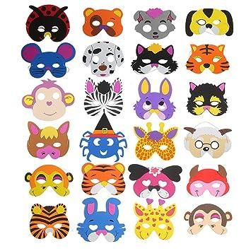 16 Mascaras De Espuma Para Ninos De Ccinee Disenos Variados De Animales Para Bolsas De Regalo 24 Unidades