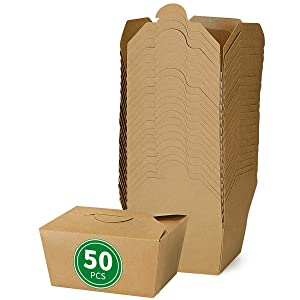 Bloomoon 50 Pack Eco-Friendly Disposable and Recyclable Take-Out Food Container, Oil-Proof and Leak-Resistant, Kraft Brown, 30 oz x 50 pcs, Perfect for Restaurant to-Go, Catering and Party.