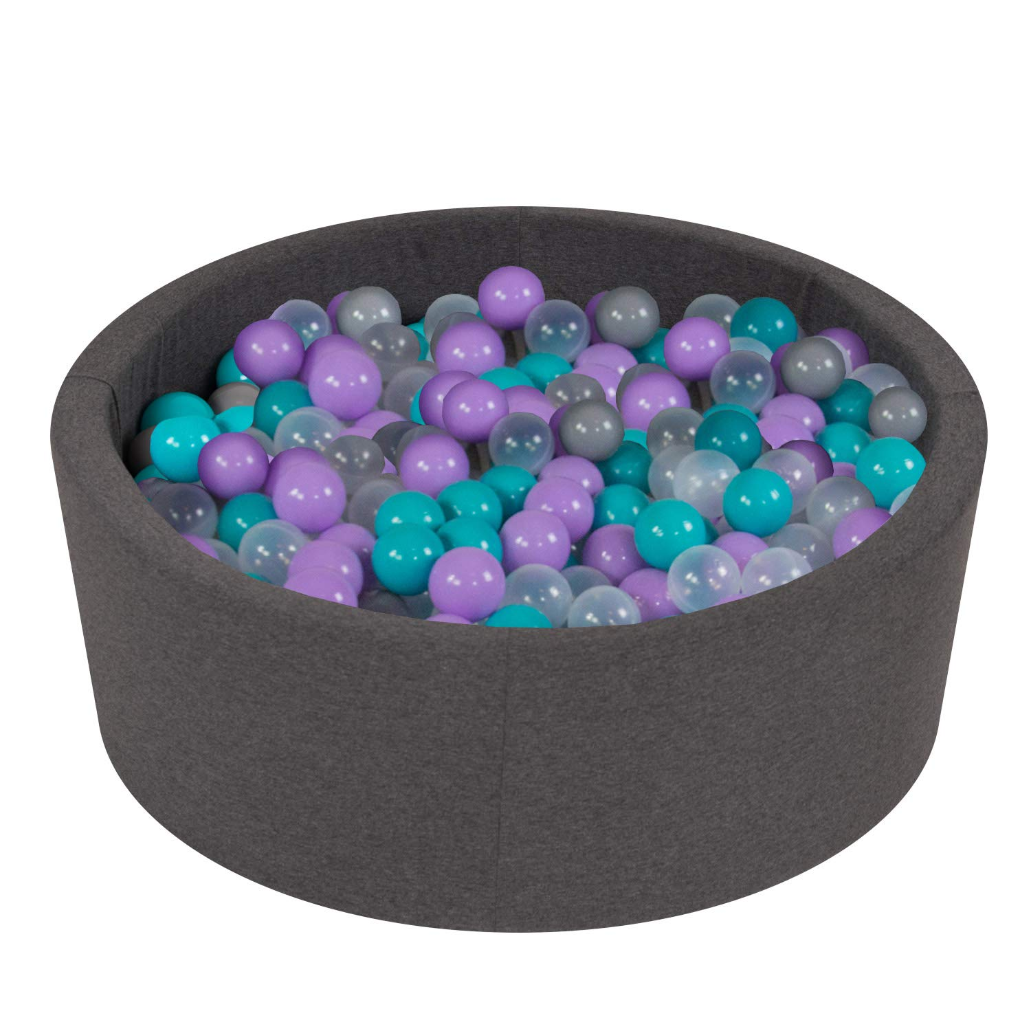 Vivisence Kids Play Ball Pit Foam 90X30 200 Balls Made In EU Certified For Safety, Black: Grey/Red/White,90/30 Foam Ball Pit