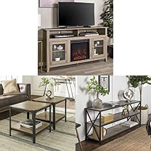 Walker Edison Furniture Company Rustic Wood and Glass Tall Fireplace Stand for TV's with Shelves Entertainment Center and Wood and Metal Frame Side End Accent Table and Bookcase Bookshelf Storage