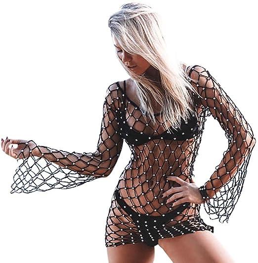 99db7a8f2d0d7 Women Summer Fishnet Bikini Cover Up Long Sleeve Low Back Short Beach  Bathing Suit (S