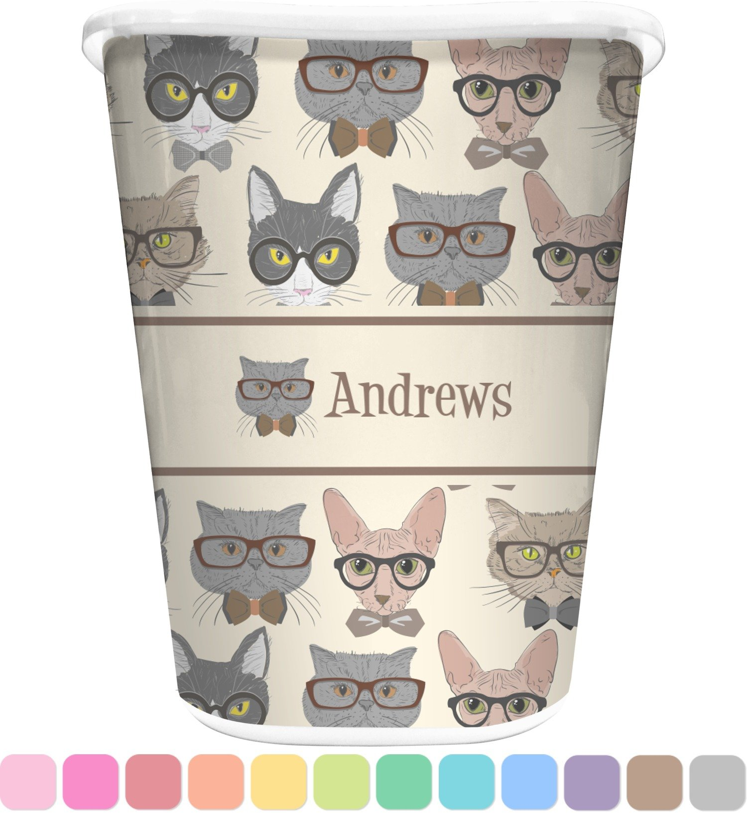 RNK Shops Hipster Cats Waste Basket - Single Sided (White) (Personalized)