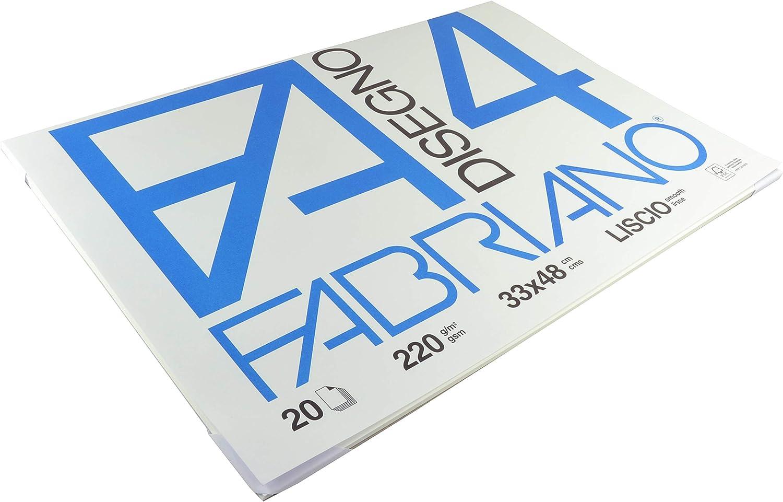 Grammatura 220gr//m2 Formato 24 x 33 cm Album da Disegno Fogli Lisci Fabriano F4 05200597 20 Fogli