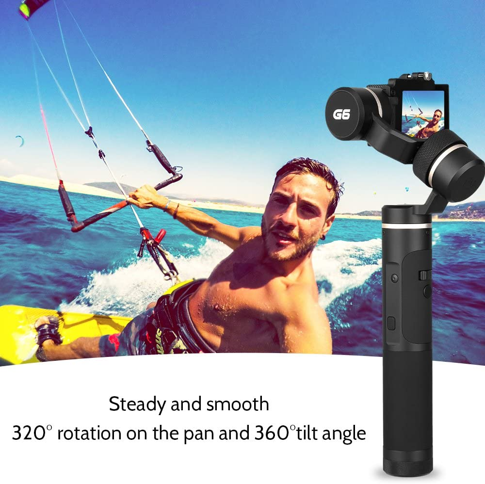 G6 Kit 3-Axis Action Camera Gimbal with MiniTripod GoPro Session Adapter Phone Clip OLED Screen for GoPro Hero 7 Hero 6 Hero 5 Yi cam 4K Sony RX0