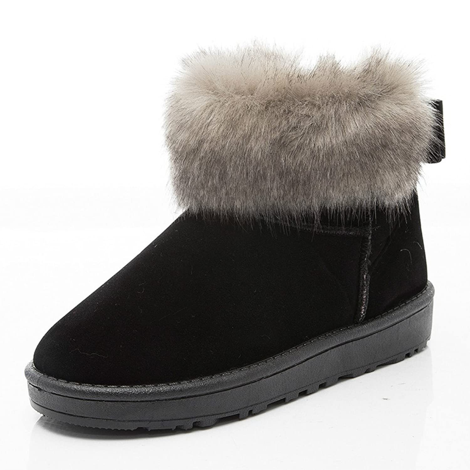 fashion womens ladies fur lined snow ankle boots winter shoes size (6.5, Black)
