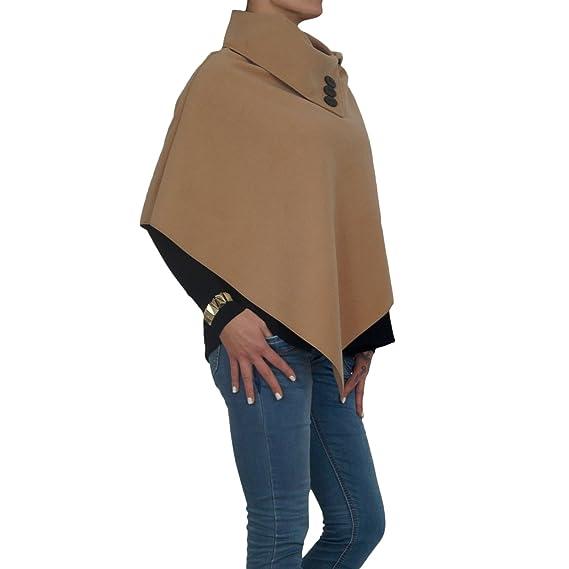 ee99d102a68f5c Damen Fleece Poncho mit Reverskragen und Zierknopfleiste in graun, beige und  schwarz (One Size, Beige): Amazon.de: Bekleidung