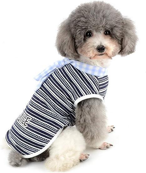 Zunea - Camisa de algodón para Perros pequeños a Rayas y Corbata ...