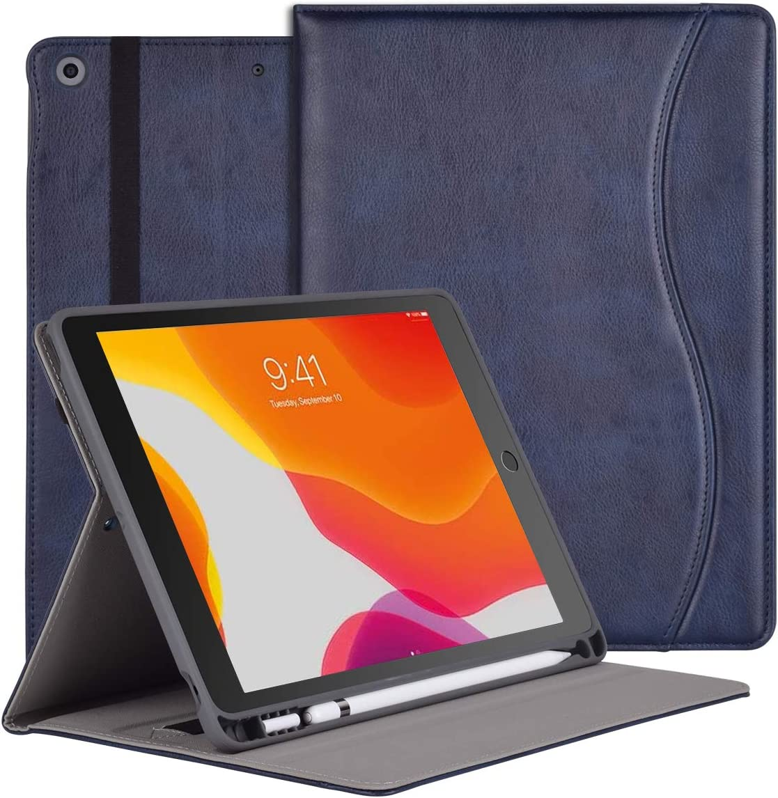 iPad 10.2 Case for iPad 8th Generation 2020 & iPad 7th Gen 2019, Premium Multiple Viewing Angles Standing Leather Folio Protective Cover with Pencil Holder and Pocket / Auto Wake/Sleep- Blue