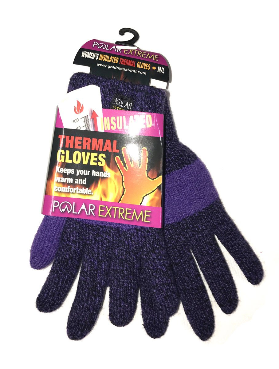 Polar Extreme Womens Heat Marl Knit Purple/Black Winter Glove - One Size Fits All
