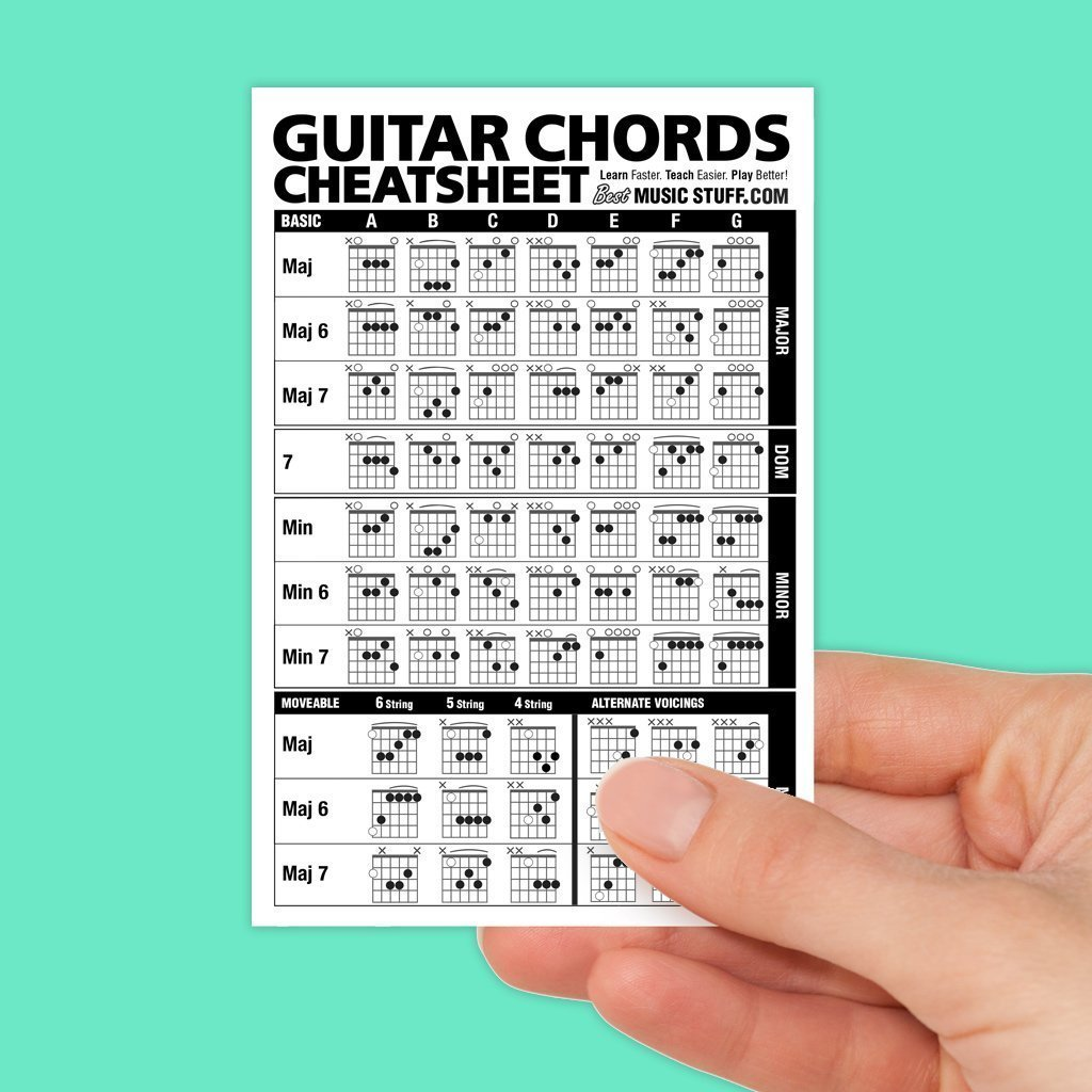 Amazon Guitar Chords Cheatsheet Laminated Pocket Reference