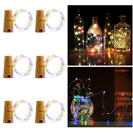Aohro 6Pcs Vino Botella Cork Lights Corcho LED Botella Luz, para ...