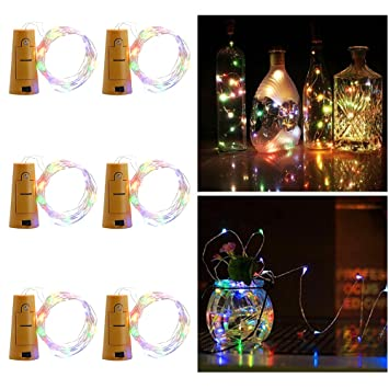 Aohro 6Pcs Vino Botella Cork Lights Corcho LED Botella Luz, para Botella DIY, Navidad