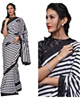 Regent-e Fashion Women's Black And White Striped Georgette Print Latest Designer Wedding Wear Saree With Cotton&Net Embroidery Sequence Work Blouse Piece Free Size Saree