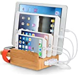 Merit 3 in 1 Multischnittstelle USB Bambus Ladestation Universell Ladegerät plus Kabel Organizer ALL-DOCK Dockingstation Ladeständer Ladedocks(40W 5 Schnittstelle USB Ladestation) Desktop Ladestation, Apple Uhr Stand für iPhone, iPad, Apple Watch, Tablet usw