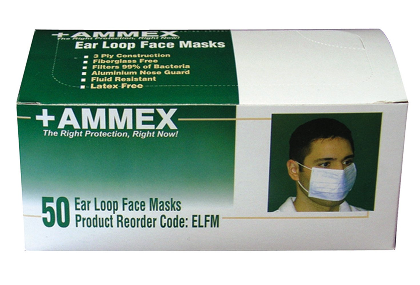 AMMEX - ELFM - 3Ply Conforming Metal Bridge Earloop Style Face Mask, Fiberglass Free, 3.0 Micro Filtration(Case of 600)