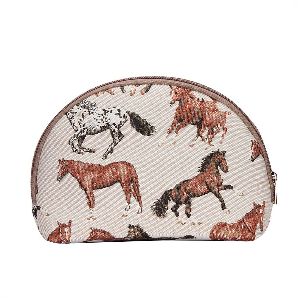 Running Horse Cosmetic Bag by Signare/Unique Elegant Travel Train Beauty Toiletry Makeup Case/COSM-RHOR