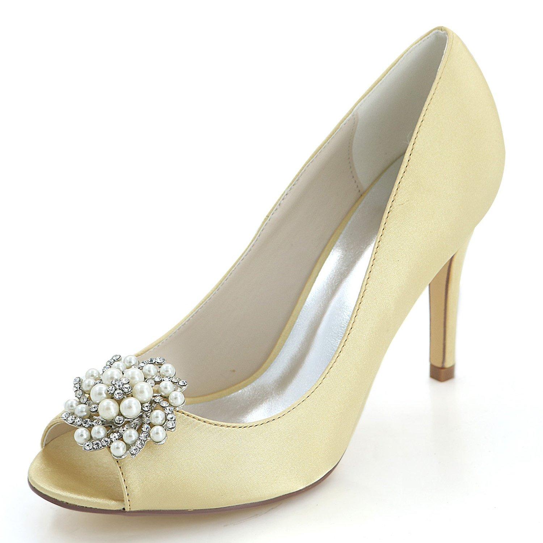 Elobaby Zapatos de Boda para Mujer Evening Rhinestones Dress Sandalias de Moda Peep Toe Sexy Fashion/9cm Heel 37 EU|Gold