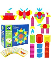 M-Aimee Wooden Pattern Blocks Classic Educational Montessori Toys Tangrams Set for Kids with 130 Geometric Shape Pieces and 24 Design Cards