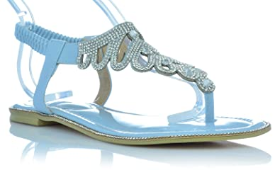 Sandalen Sandaletten Lack Schuhe Zehentrenner mit Glitzer Strasssteine  Sommer EUR 36 Blau 946a8187af