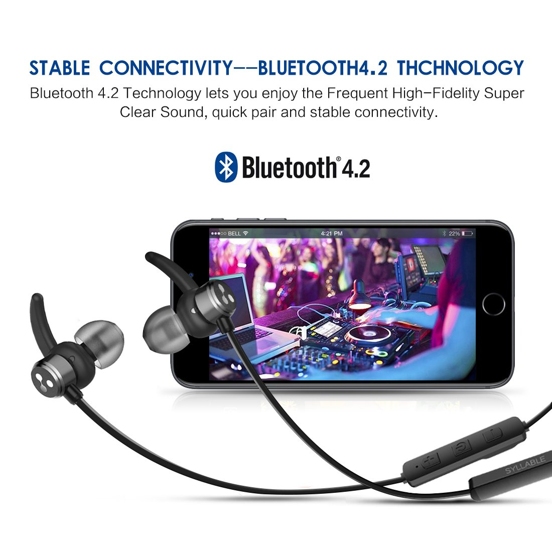 Auricolari Bluetooth Magnetici Cuffie Bluetooth Sport Auricolare Bluetooth  in ear Syllable D3X per iPhone b22735e9b8c4