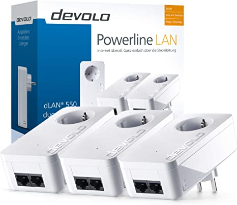 Devolo Dlan 550 Duo Network Kit Powerlan Adapter Weiß Computer Zubehör