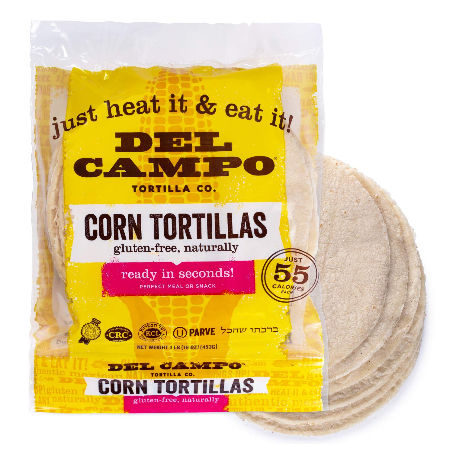 Amazon Com Del Campo Soft Corn Tortillas 6 Inch Round 1 Lb Bag 100 Natural Gluten Free And All Corn Authentic Mexican Food Many Serving Options Wraps Tacos Quesadillas Or Burritos Kosher 16ct