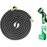 iZEEKER New Design in 2017,Three Times Expandable 50 Feet Magic Hose,Washing Car Hose ,Strongest Expandable Garden Hose ,Solid Brass Ends, Double Latex Core, Extra Strength Fabric (Black)