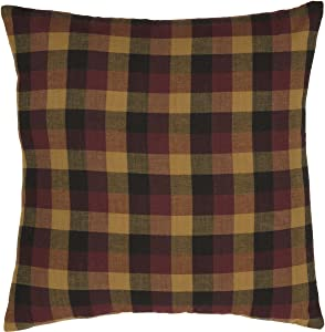 """VHC Brands Primitive Pillows & Throws-Heritage Farms 16"""" x 16"""" Pillow, Deep Burgundy Red"""