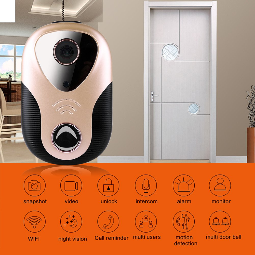 Taykoo Security Doorbell Camera, 720P WIFI Smart Visual Doorbell, Rapid Alarm/ Snapshot/ Recording/ Monitoring/ Open the Lock Automatically, Support Motion Detection Alarm and IR Night Vision, Gold by Taykoo (Image #2)